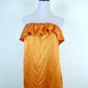 3.1 orange siik strapless dress 6 ruffles